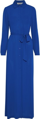 Diane von Furstenberg Amina Belted Crepe De Chine Maxi Shirt Dress