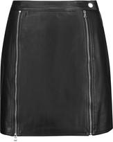 J Brand Claret embellished leather mini skirt