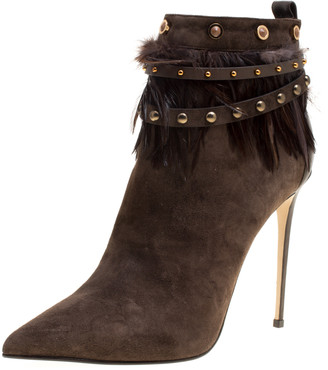 Le Silla Brown Suede Feather Trimmed Pointed Toe Ankle Boots Size 41