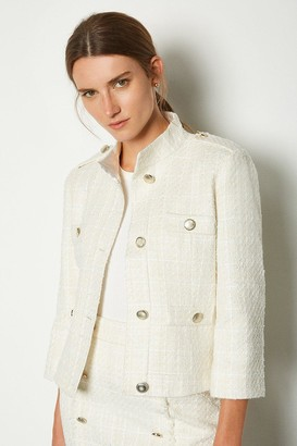 Karen Millen Sparkle Tweed Button Jacket