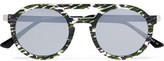 Thierry Lasry Gravity Round-Frame Mirrored Acetate Sunglasses