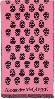 Alexander McQueen Pink and Black Skull Scarf