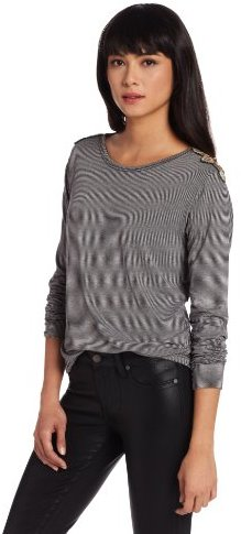 LnA Women's Medal Long Sleeve Top with Shoulder Detail