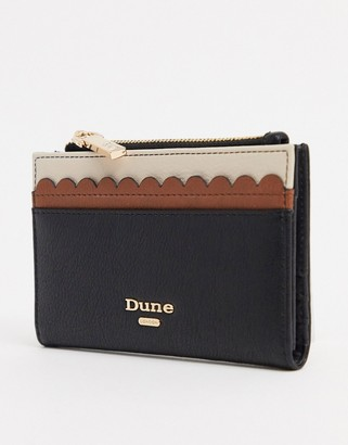 Dune curved edge black and tan purse