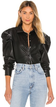 Blank NYC Vegan Leather Big Shoulder Top