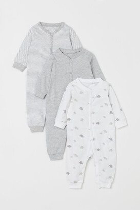 H&M 3-pack Cotton Pajamas - Gray