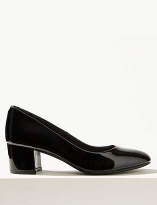 M&S CollectionMarks and Spencer Leather Block Heel Court Shoes