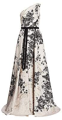 Marchesa Women's Jacquard Floral One-Shoulder Ball Gown