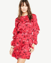 Ann Taylor Ruffle Sleeve Lace Inset Dress