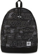 A Bathing Ape Camouflage text backpack