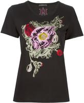 Alexander McQueen floral embroidered T-shirt - women - Cotton - 36