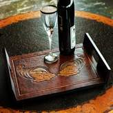Rectangular Tooled Leather Brown Wood Serving Tray, 'Cornucopia of Coins'