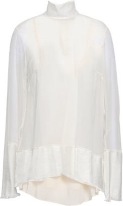 Zimmermann Twill-paneled Silk-georgette Blouse