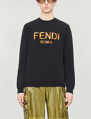 Fendi Logo-intarsia relaxed-fit cotton-knit jumper