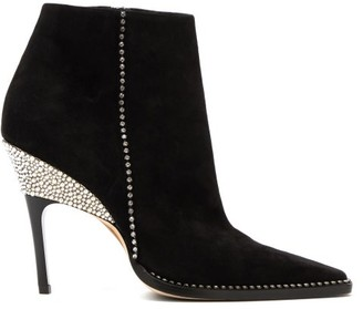 Jimmy Choo Brecken 100 Crystal-embellished Suede Ankle Boots - Black