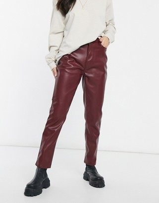 Urban Bliss faux leather straight leg pants in burgundy