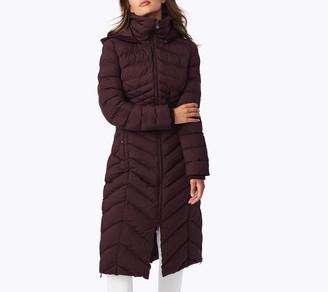 Bernardo EcoPlume Maxi Coat with Knit Trim