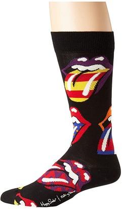 Happy Socks Rolling Stones Out Of Control Socks (Black/Multi) Men's Crew Cut Socks Shoes