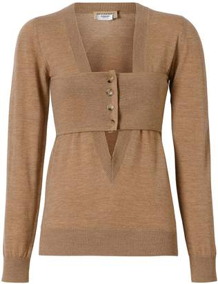 Burberry Button Panel Detail Merino Wool V-neck Sweater