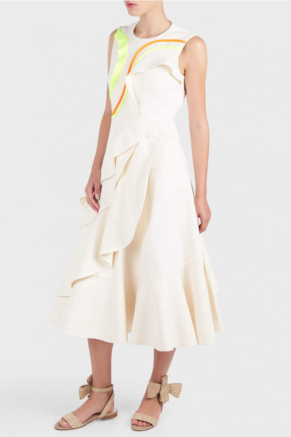DELPOZO Colour Waves Ruffle Dress