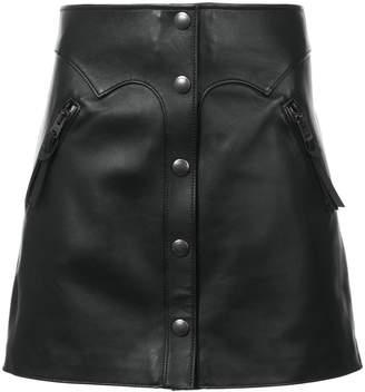 Coach high-waist leather skirt