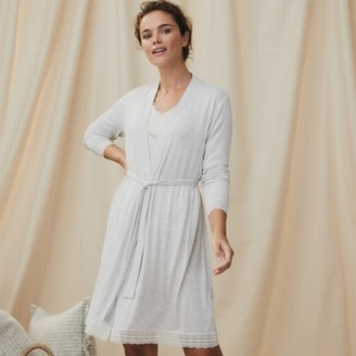 The White Company Lace Trim Robe, Cloud Marl, Extra Large