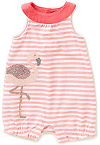 Starting Out Baby Girls Newborn-9 Months Flamingo-Applique Striped Shortall