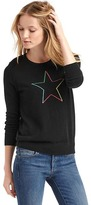 Gap Intarsia rainbow star crewneck sweater