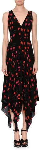 Alexander McQueen V-Neck Petal-Print Silk Crepe de Chine Dress with Handkerchief Hem