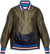 Esteban Cortazar Cropped-front satin bomber jacket