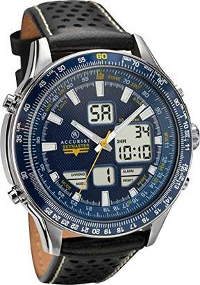 Accurist Skymaster Unisex Adult Analogue-Digital Quartz Watch with Leather Strap 7112