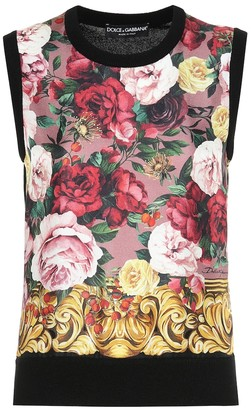 Dolce & Gabbana Floral cashmere and silk top