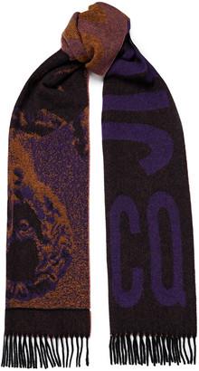 McQ Fringed Wool-blend Jacquard Scarf