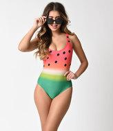 Unique Vintage Mrs. Parker Watermelon Ombre One Piece Swimsuit
