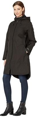 Ilse Jacobsen Soft Shell Functional Rain Coat with Removable Hood (Black) Women's Coat