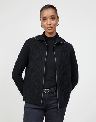 Lafayette 148 New York Petite Cashmere Zip Front Cabled Sweater