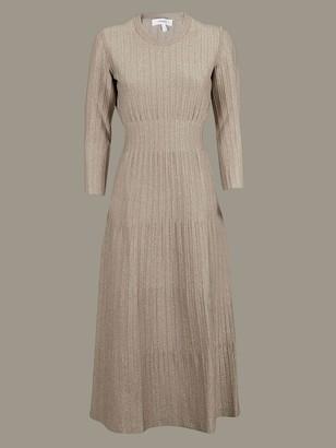 CASASOLA Ribbed Dress With Long Sleeves