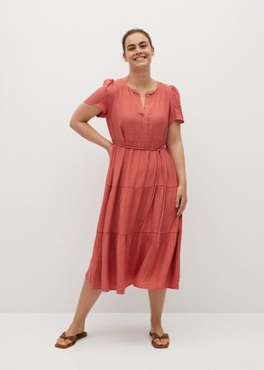 MANGO Violeta BY Belt midi dress coral red - 14 - Plus sizes