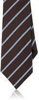 Ermenegildo Zegna Men's Striped Neat Silk Necktie-BROWN, LIGHT BLUE, NAVY