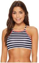 Tommy Bahama Breton Stripe High-Neck Bikini Top Women's Swimwear