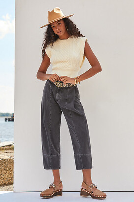 Pilcro And The Letterpress Pilcro Ultra High-Rise Pleated Straight Jeans By in Black Size 0