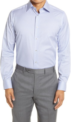 David Donahue Trim Fit Geo Print Dress Shirt