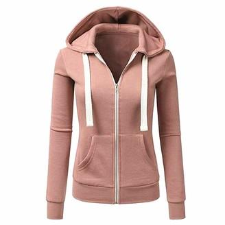 Lazzboy Womens Jacket Coat Sweatershirt Hoodie Tops Long Sleeve Solid Plain Zipper Hooded Sport Loose(XL(14) Pink)