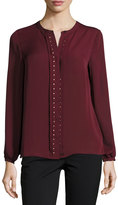 Laundry by Shelli Segal Studded Placket Top, Rich Garnet