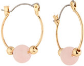 Lydell NYC Golden Hoop Earrings w/ Pink Bead