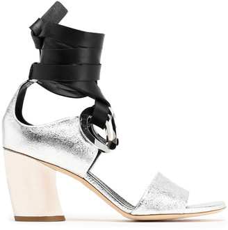 Proenza Schouler Lace-up Embellished Metallic Cracked-leather Sandals