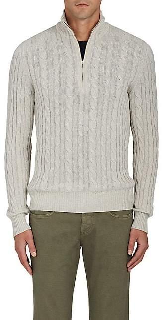 Loro Piana Men's Cable-Knit Cashmere Quarter-Zip Pullover - Light Gray