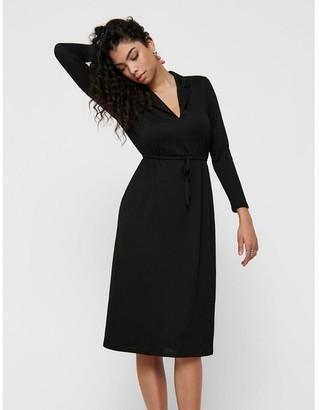 Jacqueline De Yong Midi Knee-Length Shirt Dress with Long Sleeves