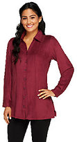 Denim & Co. Silky Suede Button Front Tunic