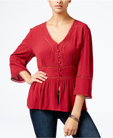 One Hart Juniors' Peplum Blouse, Only at Macy's